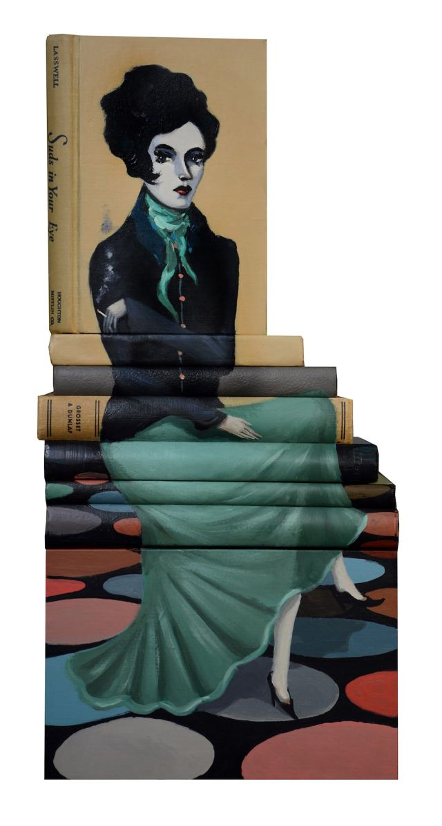 Mike Stilkey Stacked Book Sculptures Painted Books