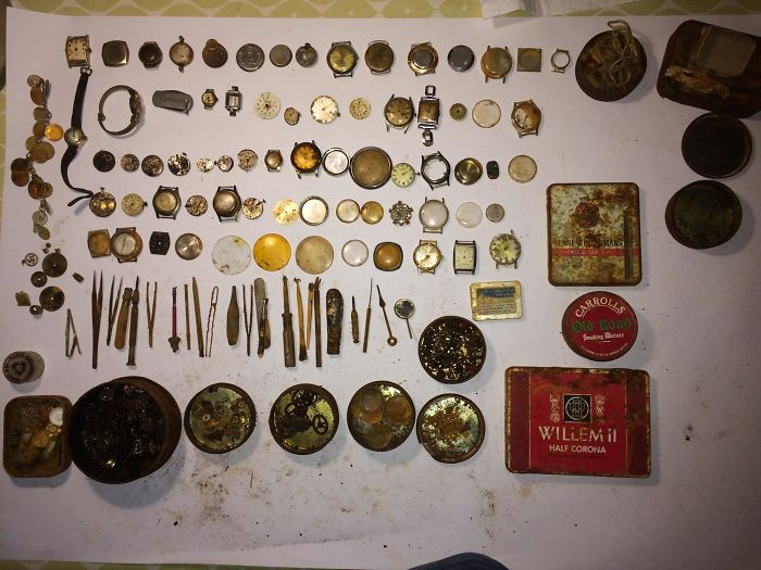 Found This Entire Watch Repair Kit On Curracloe Beach In Wexford, Ireland. It Was All In A Large Biscuit Tin. I'm Guessing It Washed Up There Sometime In The 70s.