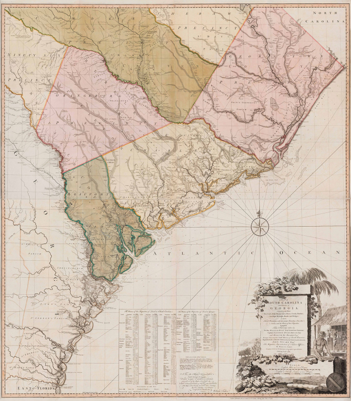 "William Faden, ""A Map of South Carolina and a part of Georgia"" (1780), black and white line engraving with period hand color on laid paper, in two sheets: top sheet H: 28 inches x W: 48 1/2 inches, bottom sheet H: 28 inches x W: 48 1/2 inches, Museum Purchase, 2019-59, A&B (image courtesy Colonial Williamsburg Foundation)"