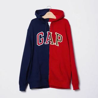 A Gap hoodie that is half red and half blue.