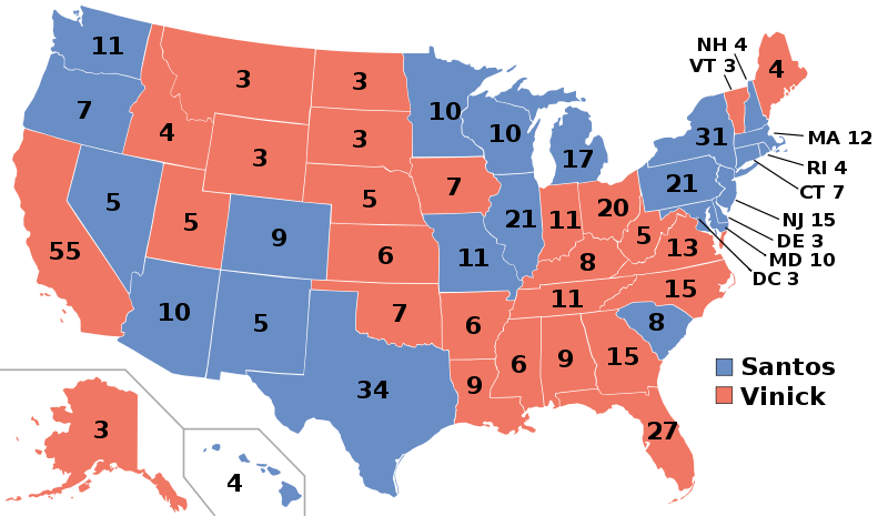 The West Wing's 2006 electoral college map