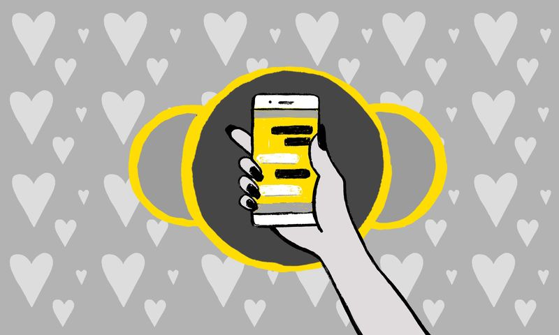An illustration of a hand holding a smartphone against a background filled with hearts.