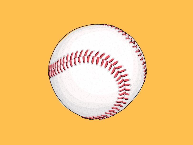 An illustration of a baseball on a yellow background.