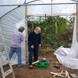 polytunnel being assembled