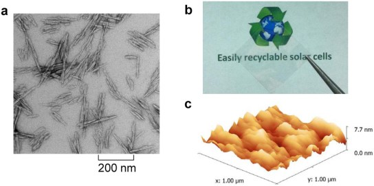 Recyclable organic solar cells on cellulose nanocrystal substrates