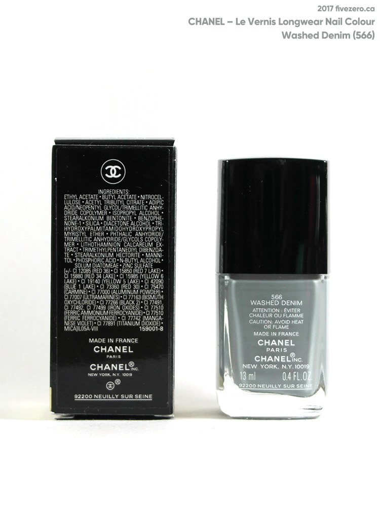 Chanel Le Vernis Longwear Nail Colour in Washed Denim (566), label