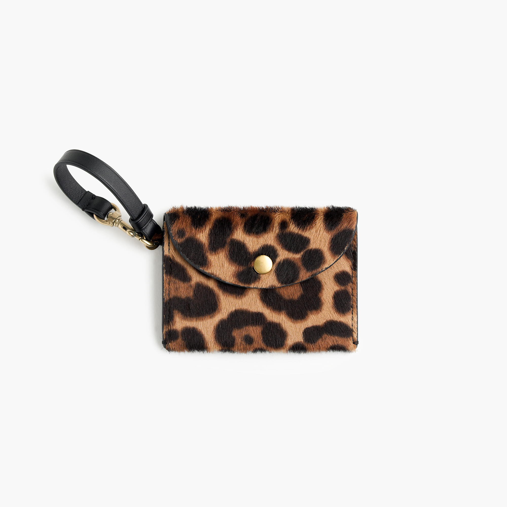 J.Crew Customizable Coin Pouch in Italian Calf Hair, Hazelnut Leopard