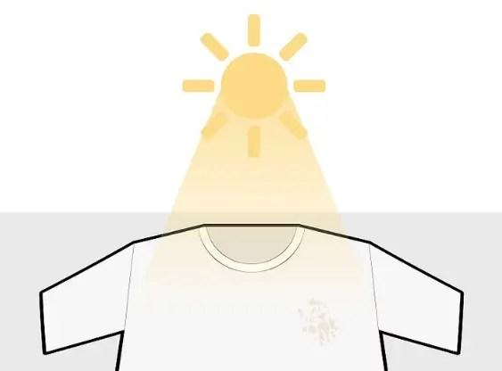 تعريض قطعة الملابس للشمس