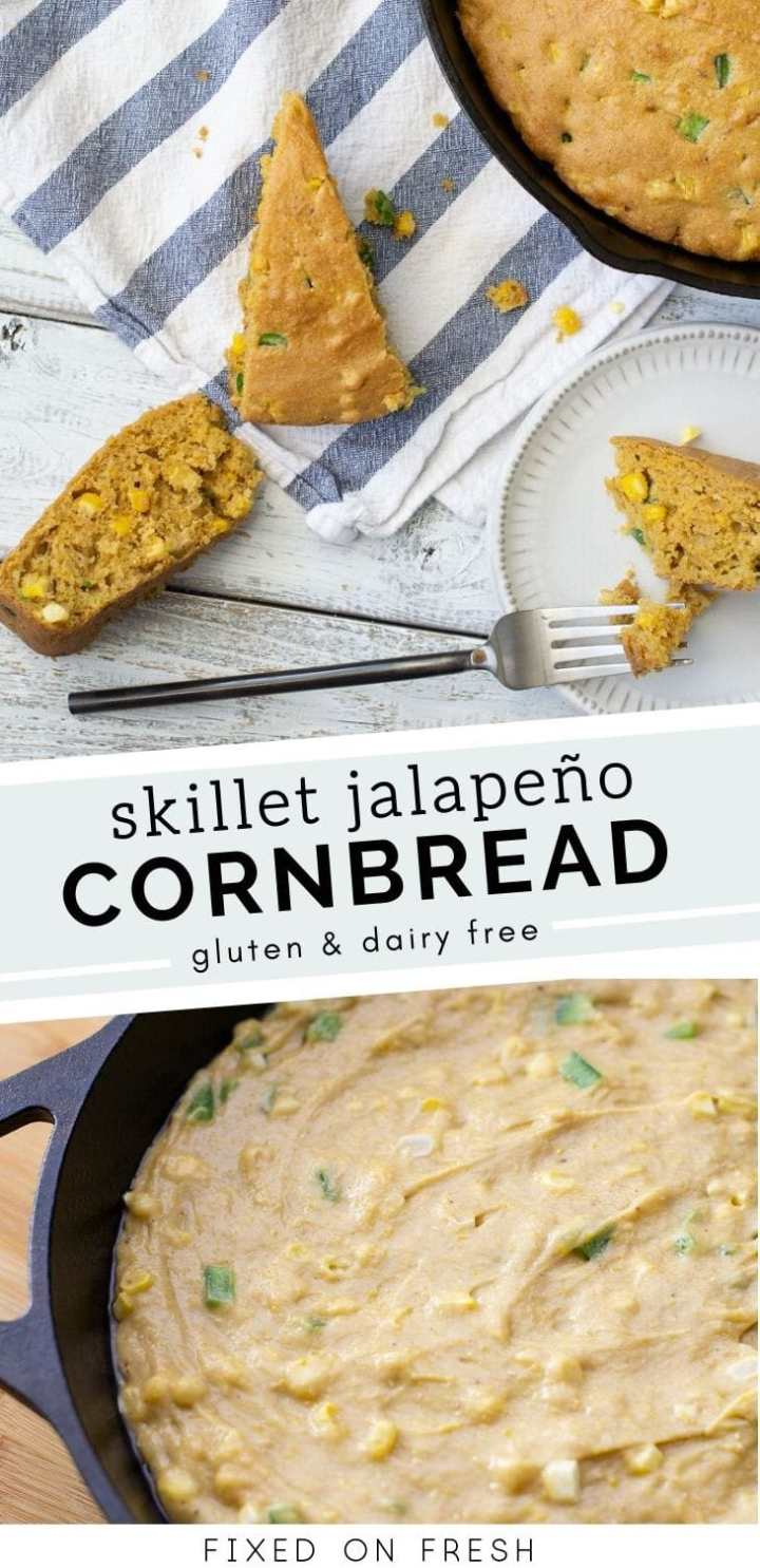 Gluten and dairy free skillet jalapeno cornbread is made with gluten free flour, fresh corn and jalapenos and is perfect for your next chili night.