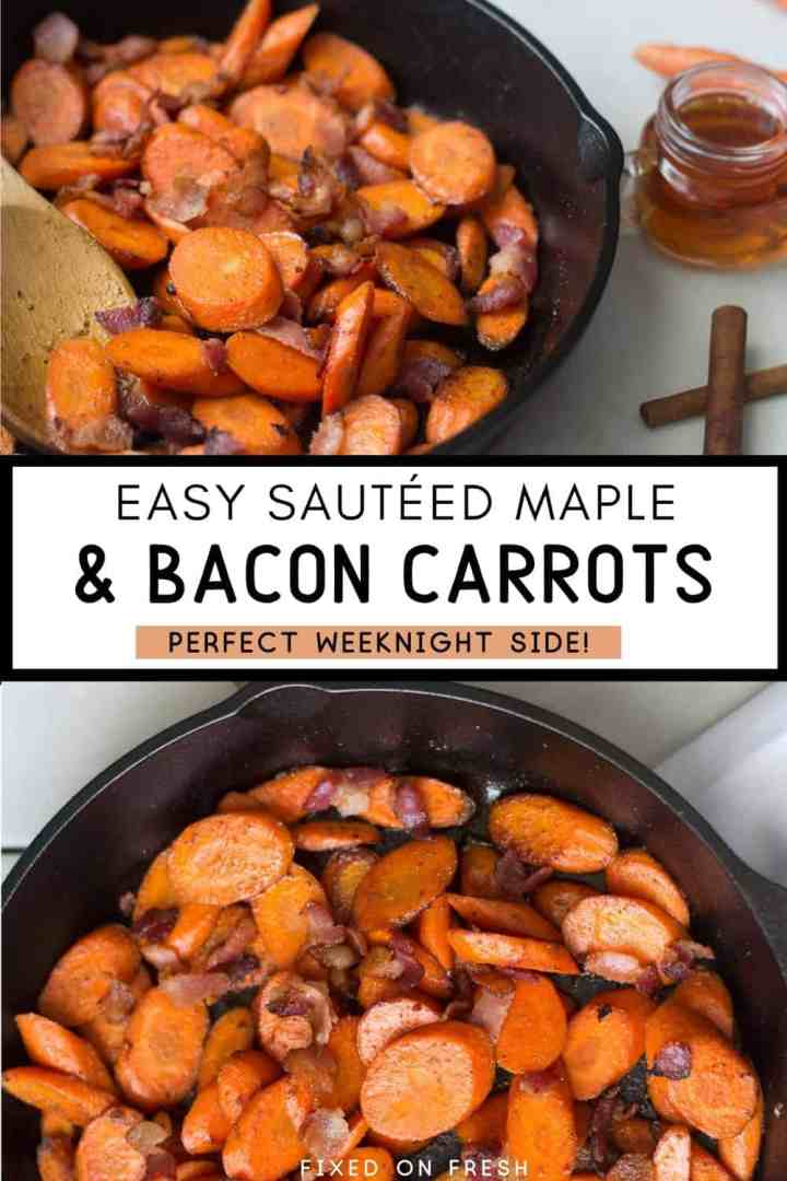 Paleo friendly sauteed carrots with maple and bacon are easy to make and done in under 15 minutes. Perfect for weeknight dinners!