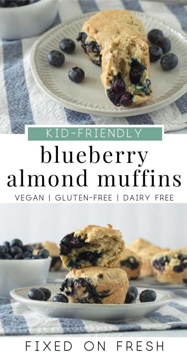 Delicious, easy to make, blueberry muffins are vegan, gluten free and dairy free. These are a great low sugar breakfast for kids. #veganrecipe #breakfastrecipe #blueberrymuffins
