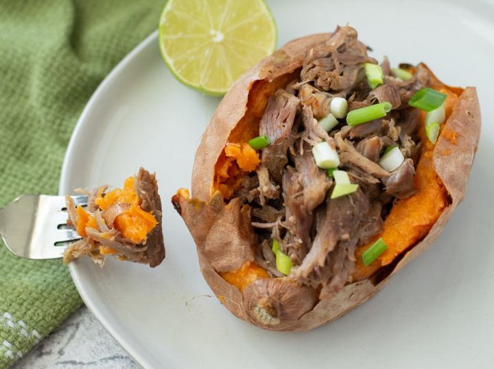 Instant Pot Carnitas Stuffed Sweet Potatoes {Whole30 and Paleo} - Fixed on Fresh