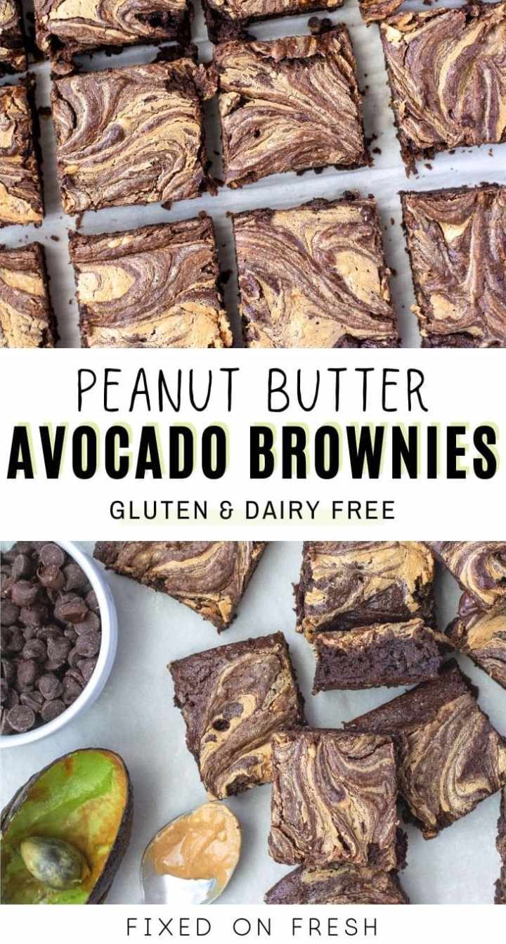 Gluten free, diary free peanut butter avocado brownies are rich in flavor and low in sugar.