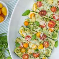 Pesto Chicken Zucchini Boats with Cherry Tomatoes