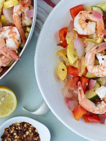 Fixed on Fresh - Healthy weeknight dinner, Lemon Pepper Shrimp Skillet