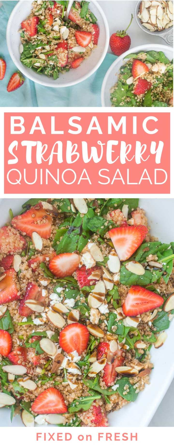 Balsamic Strawberry Quinoa Salad is an easy and fresh vegetarian salad that you can eat alone or as a side dish. This easy quinoa salad recipe is loaded with fresh strawberries, feta, spinach and then topped with a balsamic glaze and crunchy almonds.