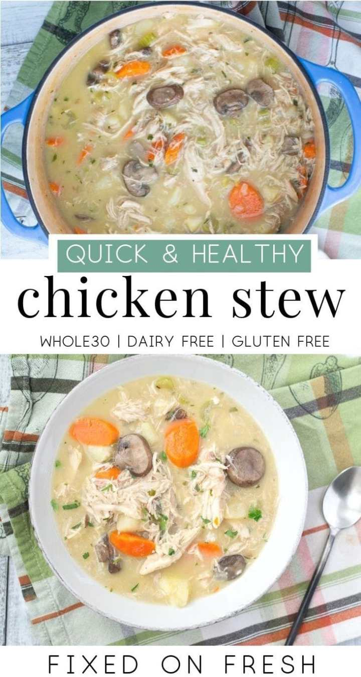 Creamy Whole30 chicken stew is a healthy, 30-minute dinner that is gluten free and dairy free. The perfect weeknight dinner on a chili night. #whole30 #chickendinner