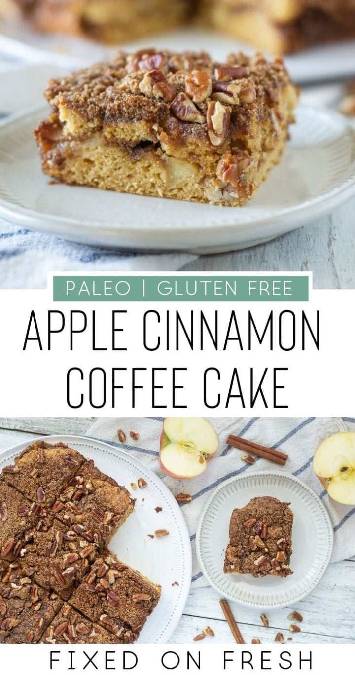 Paleo apple cinnamon coffee cake is gluten free and dairy free and makes for a tasty and healthy brunch or dessert recipe. #paleo #coffeecake