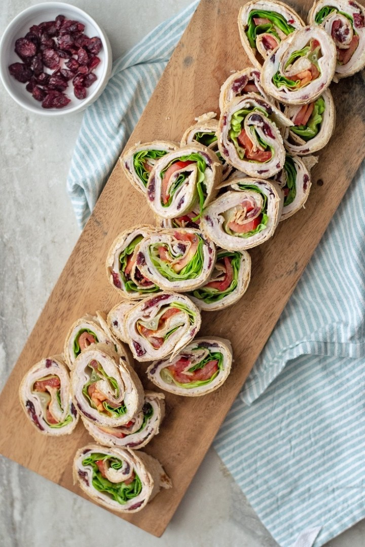 How to make Cranberry Turkey Pinwheels - An easy Thanksgiving appetizer.