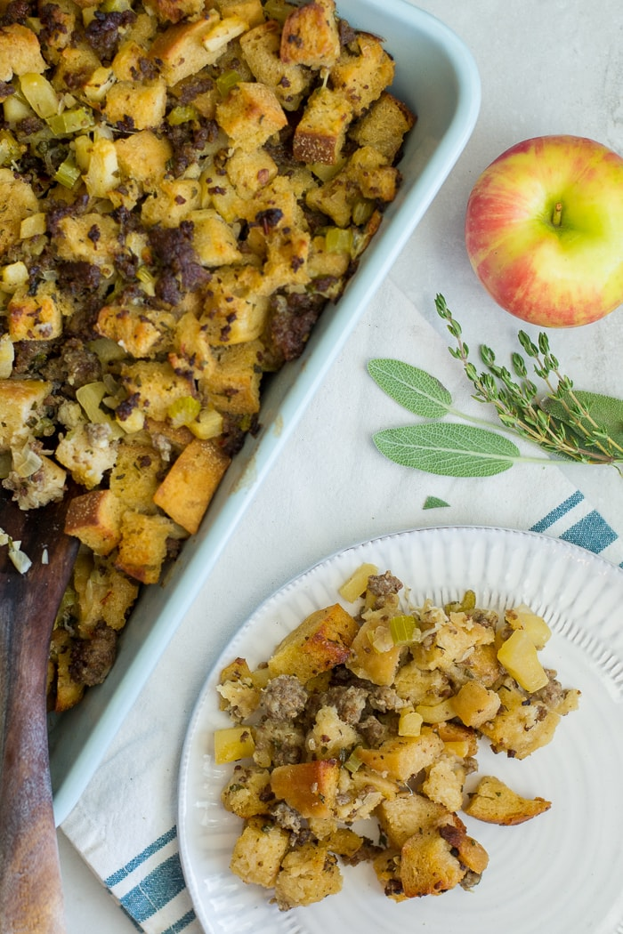 Sourdough croutons with pork sausage crumbles and tender apples makes for the best homemade stuffing recipe around