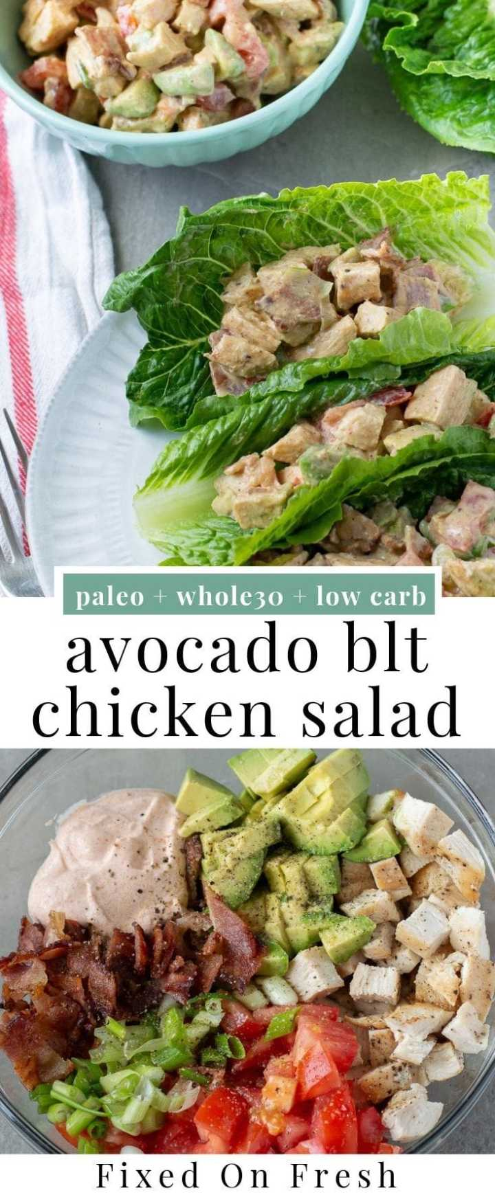 Avocado BLT Chicken Salad Wraps are an easy healthy lunch recipe. This salad is Whole30, Paleo, and Dairy Free! #paleorecipe