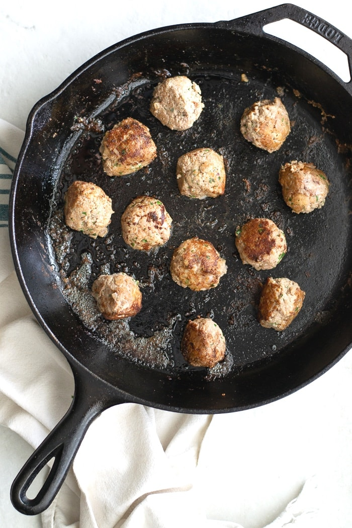 Pan seared turkey meatballs are just as good, but they get the great browned outside.