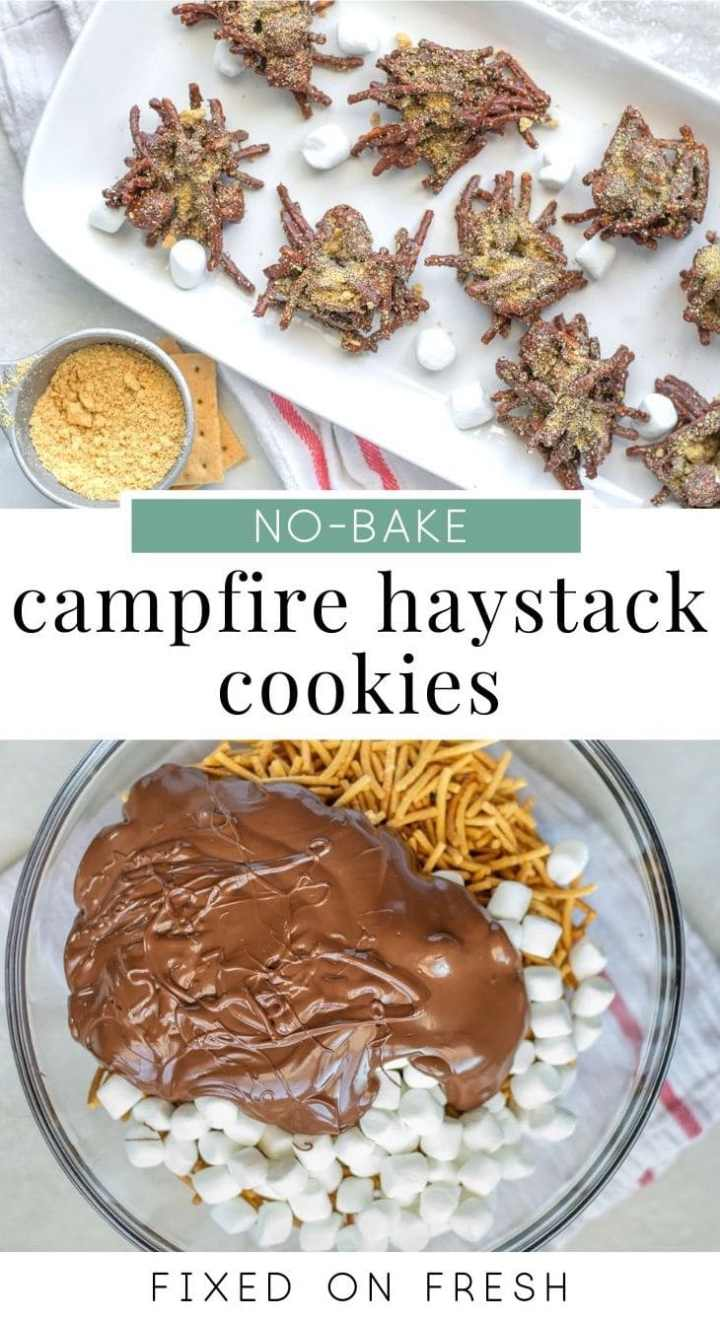 Campfire Haystack Cookies made with chow mien noodles, marshmallows, chocolate and peanut butter. These no-make s'mores cookies take less than 30-minutes to make! #nobake #dessert #cookies