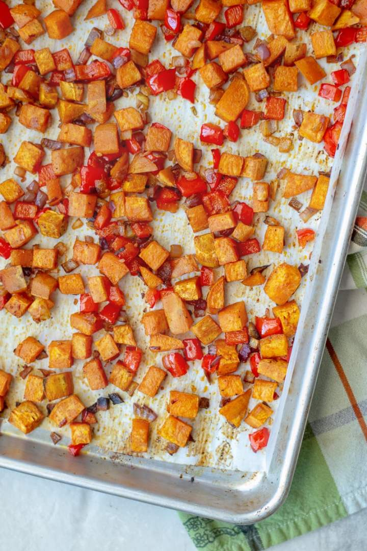 How to bake sweet potato home fries in the oven