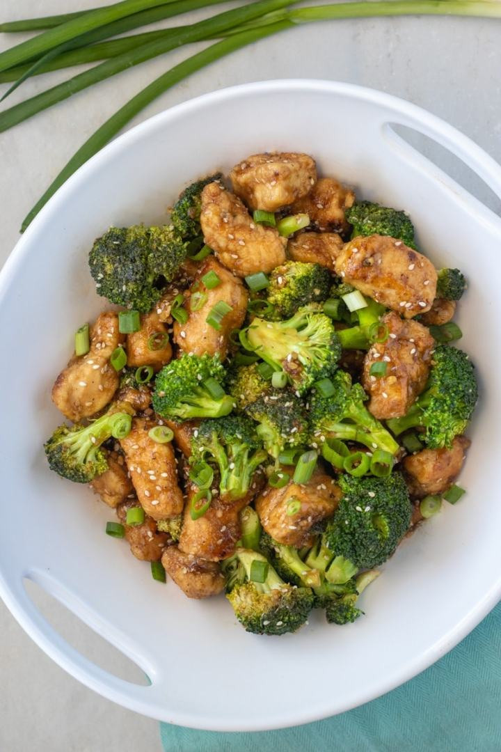 Honey sesame chicken plated
