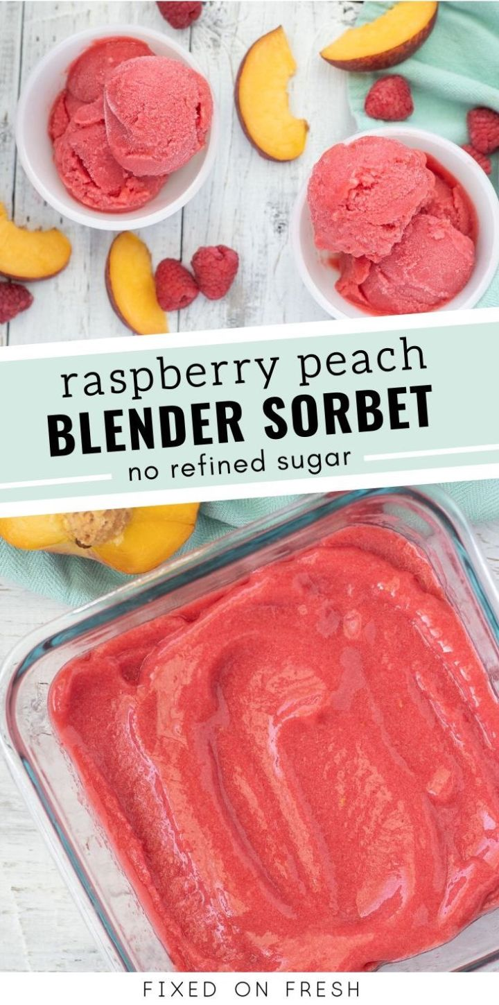 How to make fresh fruit sorbet using only a blender or a food processor. 3 ingredients are all you need to make this no refined sugar raspberry peach sorbet.