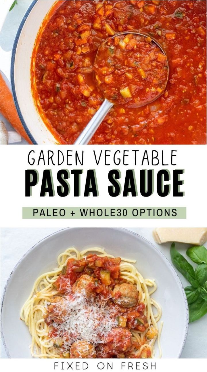 Homemade pasta sauce filled with loads of vegetables. A tomato based sauce with vegan, Whole30, and Paleo options plus it's a great way to get kids to eat veggies they wouldn't normally eat.