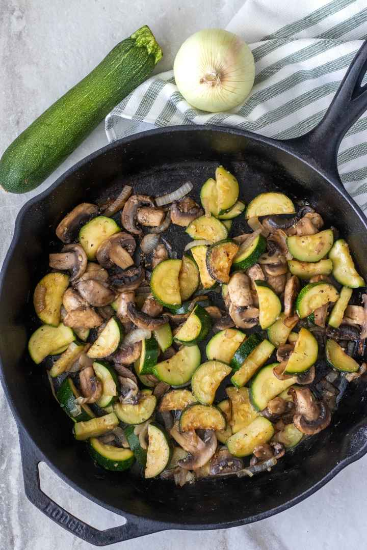 How to saute zucchini with mushrooms and onions in under 15 minutes.