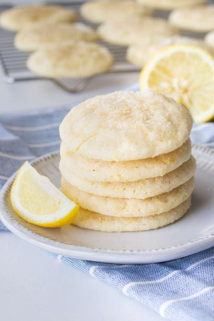 Stack of chewy lemon sugar cookies