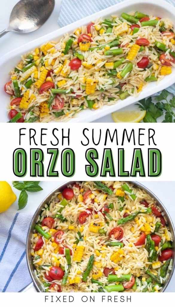 Summer orzo salad is a fresh and easy side to pair with any main dish. Fresh and crisp asparagus, pan-seared corn on the cob, and sweet cherry tomatoes are tossed with orzo and a lemon herb vinaigrette.