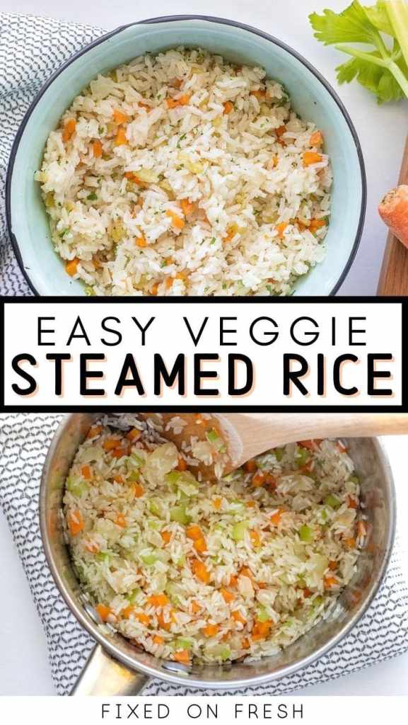 Classic steamed white rice with a big flavor boost. Vegetable steamed rice has carrots, celery, and onions are sauteed in butter or ghee and the rice is steamed with the veggies until light and fluffy.