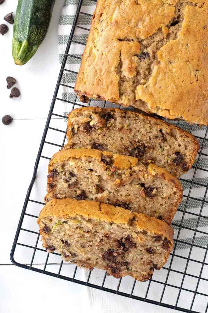Chocolate chip zucchini bread is moist and tender, loaded with chocolate with a hint of cinnamon. Zucchini is the key to getting a moist and tender bread the whole family will love.