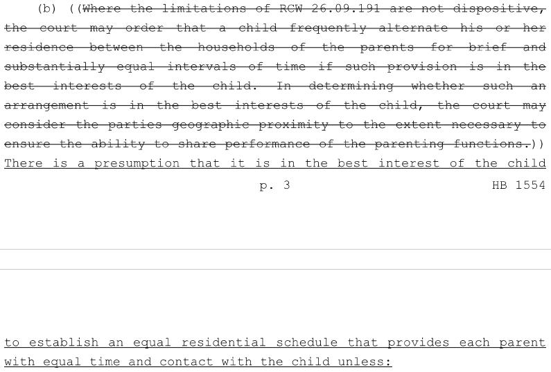 washington state equal parenting bill hb 1554 clip