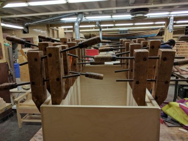 Gluing the rails. Yes, that's a lot of clamps.