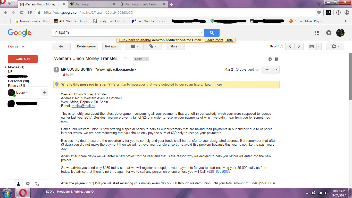 Western Union Email Scam