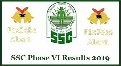 SSC Phase VI Results 2019 @ ssc.nic.in JE Technical Operator Cut Off ~ Merit List