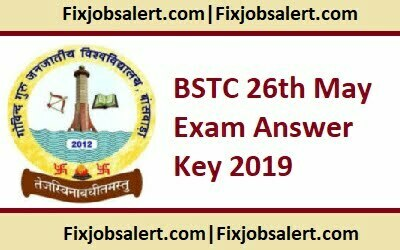 BSTC 26th May Exam Answer Key 2019 @ bstc2019.org Rajasthan Pre D.EL.ED Exam Key