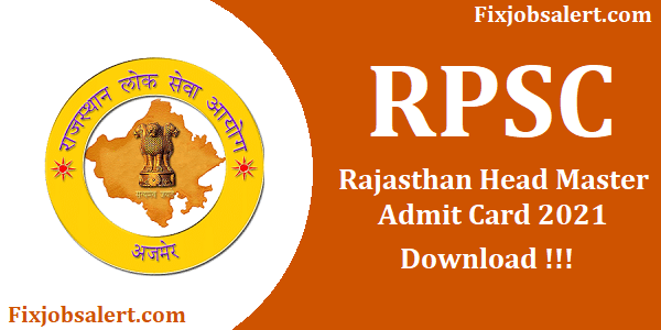 RPSC Head Master Admit Card Download