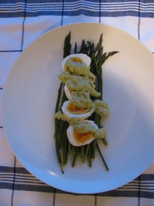 asparagus and egg salad, dressed