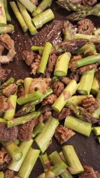asparagusand morel