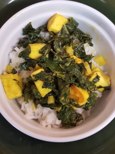 saag paneer and rice