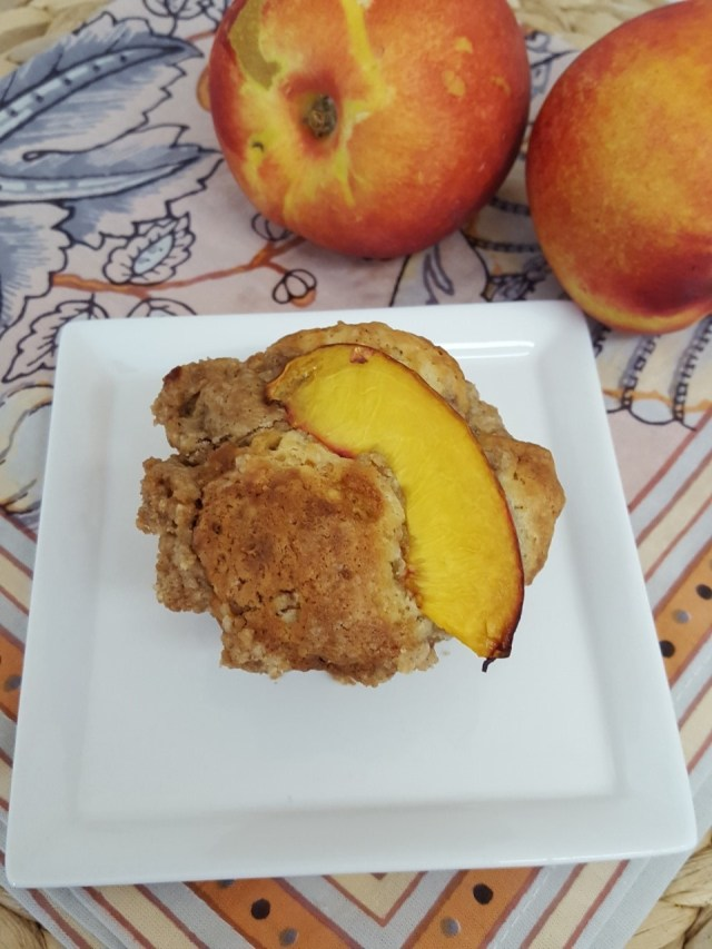 nectarine coffee cake muffin with nectarines