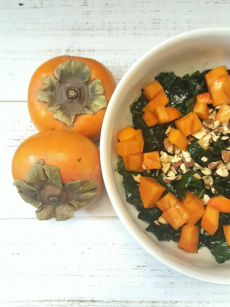 Kale Persimmon Salad with Black Garlic Dressing