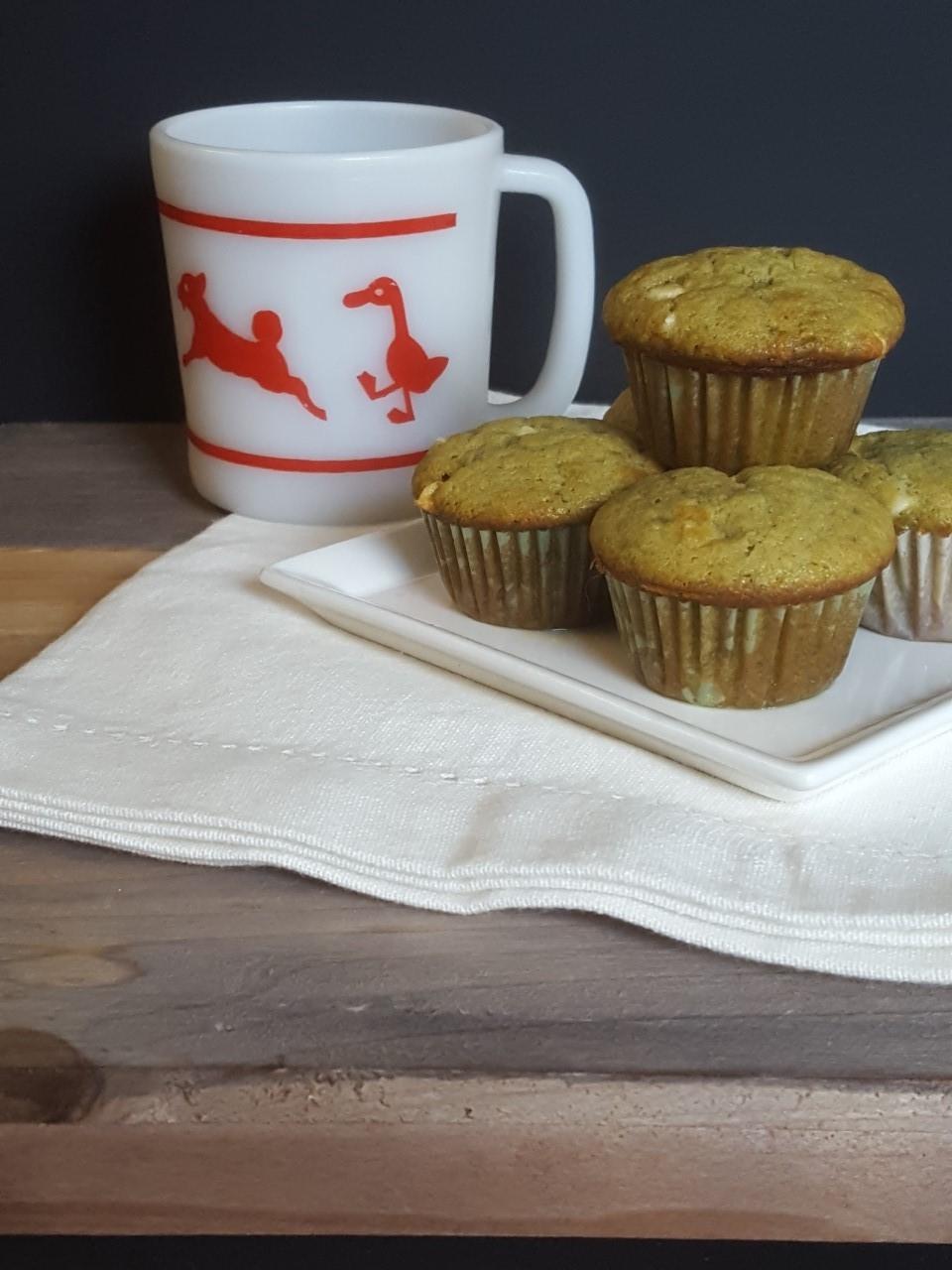 matcha white chocolate mini muffins