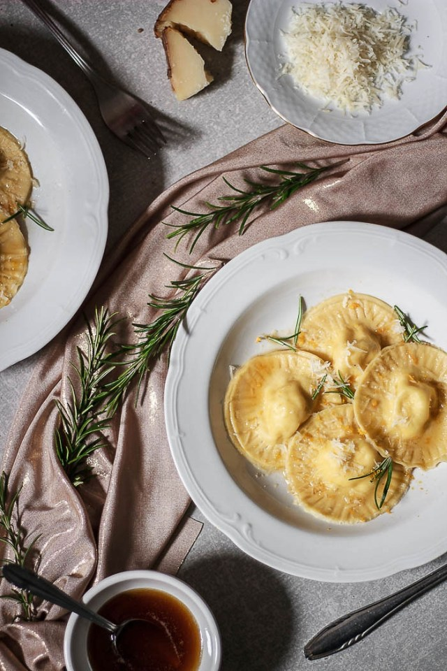 Orange and Pecorino Ravioli with Rosemary Brown Butter