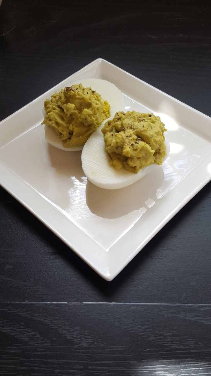 Avocado Green Curry Deviled Eggs